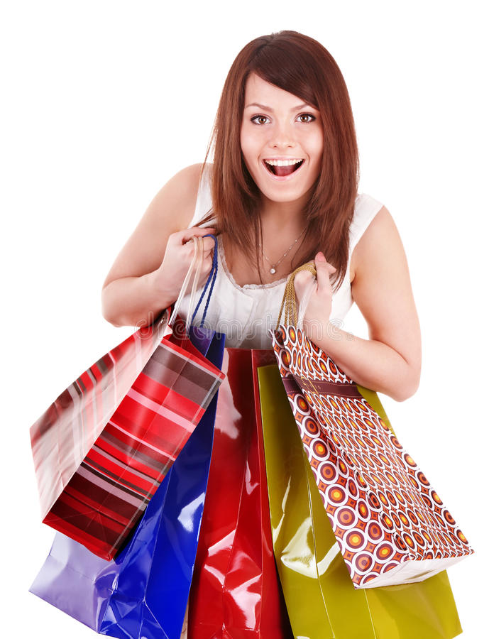 Download Girl Holding Group Shopping Bag. Stock Photo - Image: 16987688