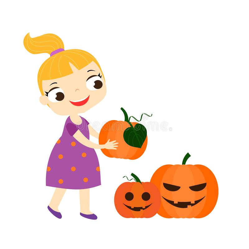 Free Girl Holding Halloween Pumpkins. Halloween Children Series Royalty Free Stock Photo - 124764635