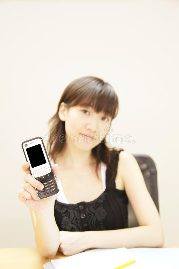 Download Girl Holding Handphone stock image. Image of message, outwards - 9674839