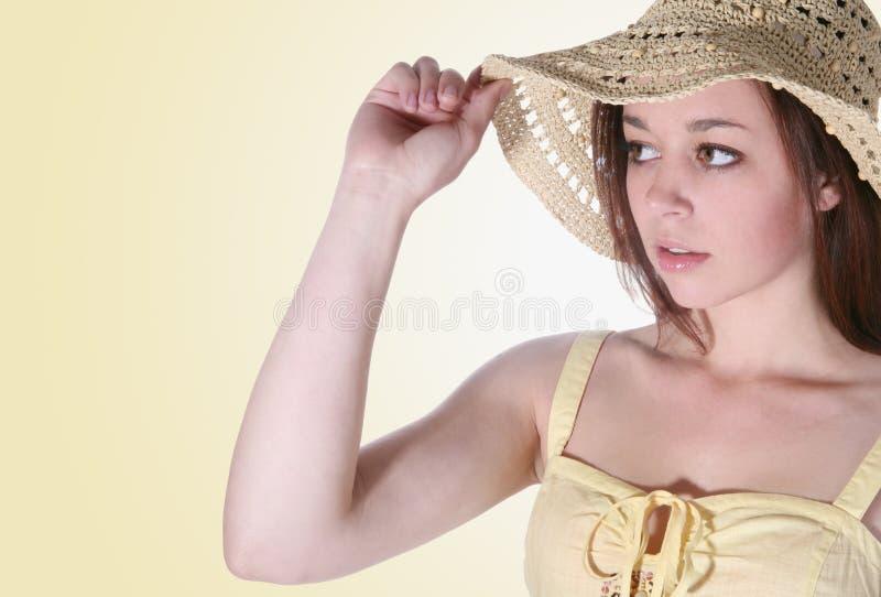 Download Girl holding hat brim stock photo. Image of female, forward - 2320508