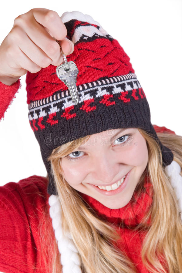 Download Girl holding keys stock photo. Image of beautiful, happiness - 20739778