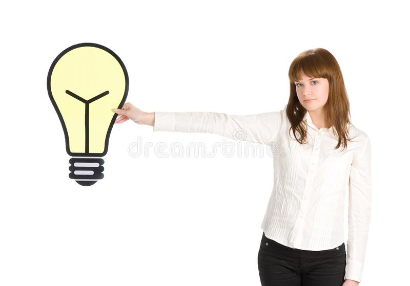 Girl holding light bulb close up royalty free stock images