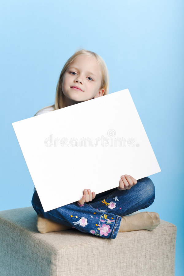 Girl holding a note royalty free stock photos