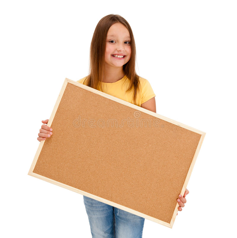 Girl holding noticeboard stock image