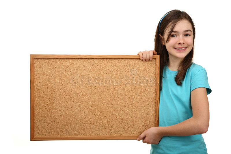 Girl holding noticeboard royalty free stock photos