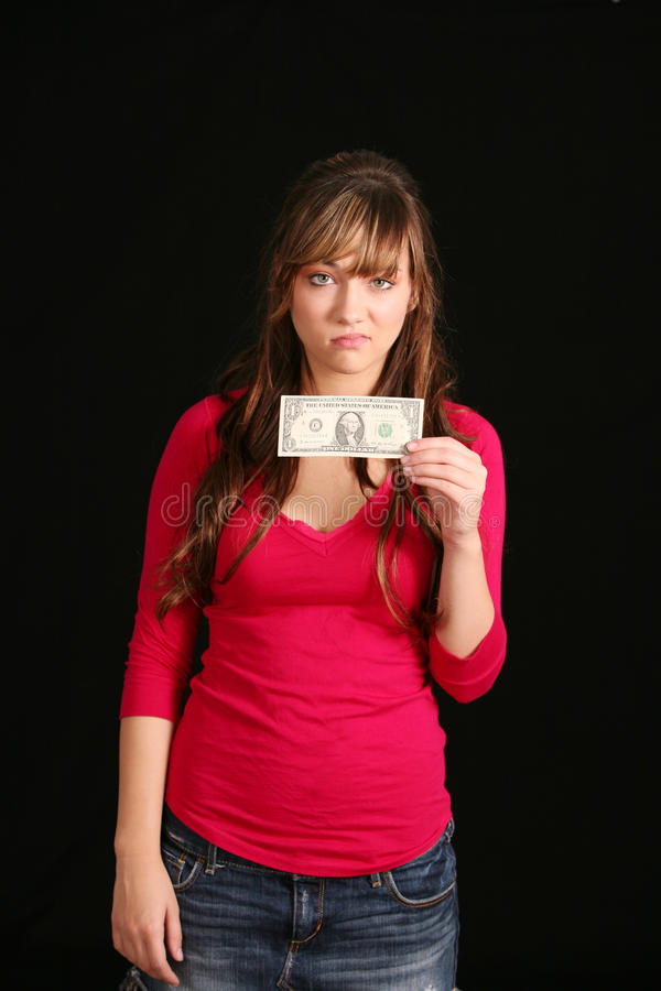 Download Girl Holding Old Dollar Bill Stock Photo - Image of teen, teenager: 11314992