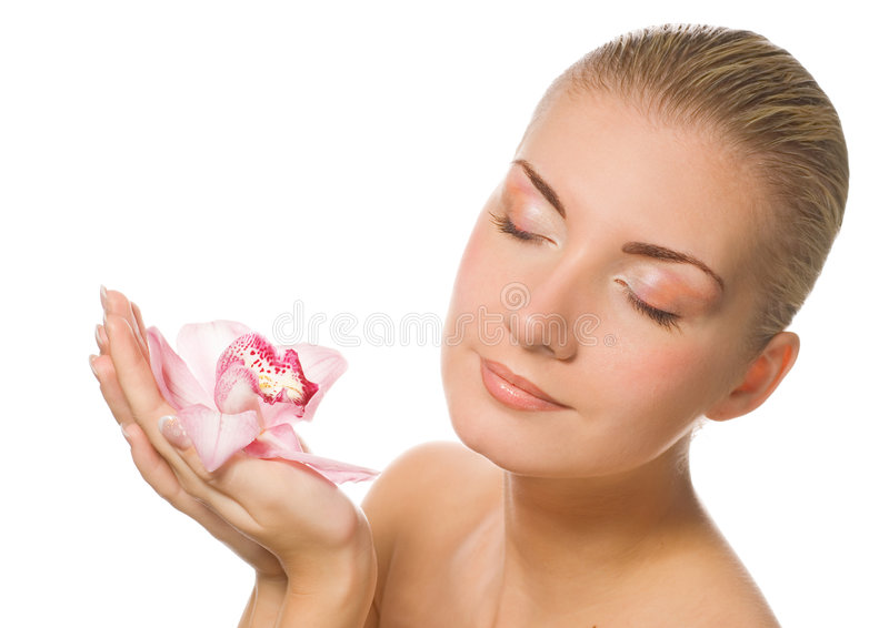 Download Girl holding orchid flower stock image. Image of medical - 3862093