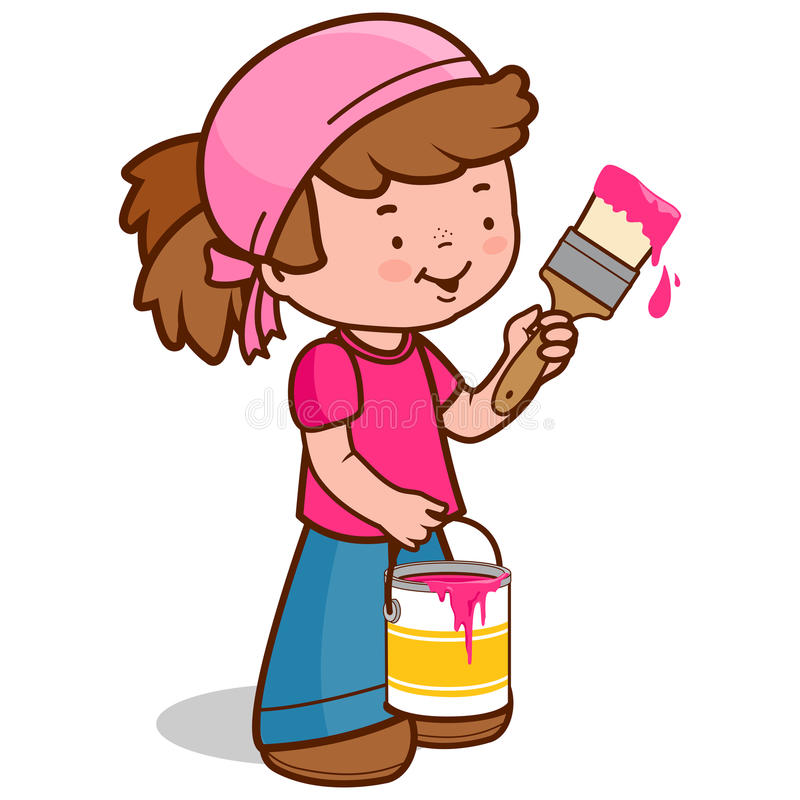 Girl holding a paint brush and bucket. Girl painting with a paint brush and holding a paint bucket. Vector illustration royalty free illustration