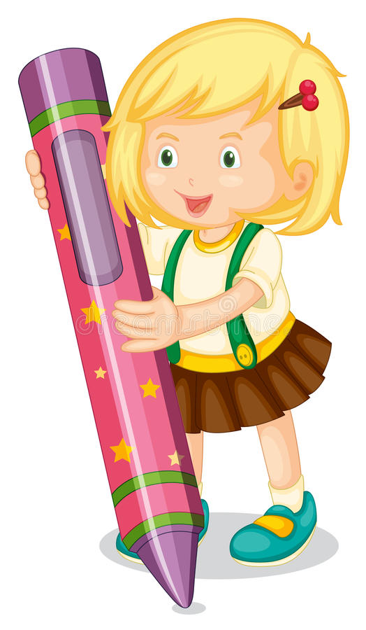 A girl holding pencil royalty free illustration