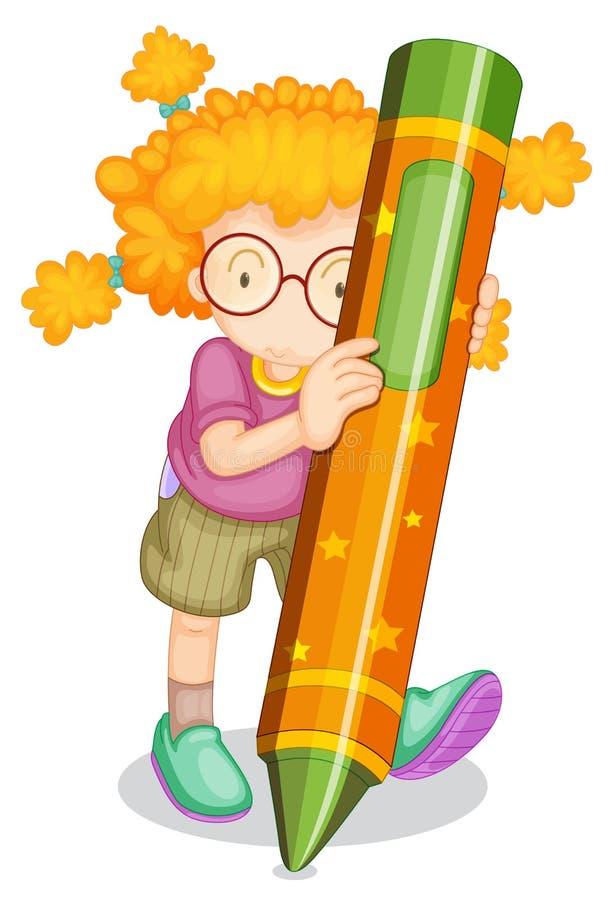 A girl holding pencil vector illustration