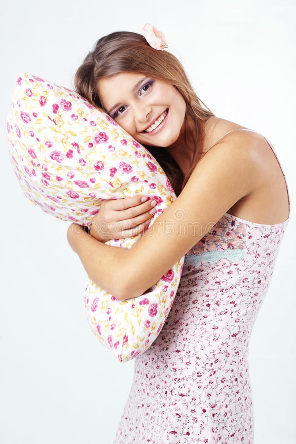 Download Girl holding pillow stock image. Image of night, dream - 17179467