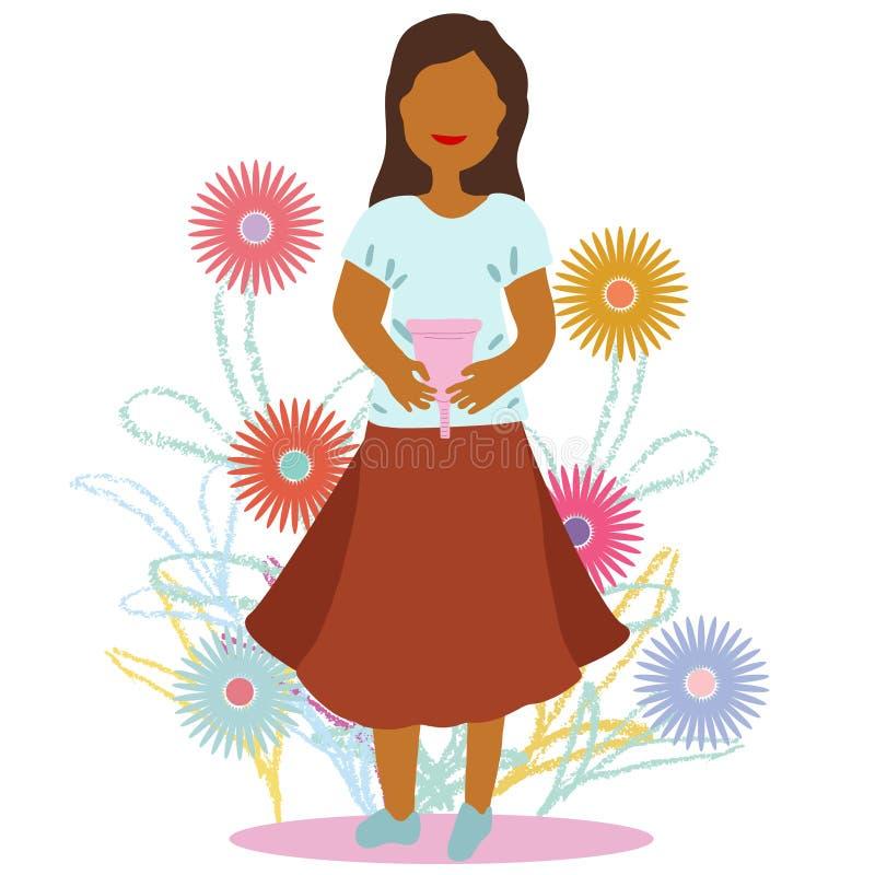 A girl holding pink menstrual cup illustration. A girl holding pink menstrual cup in flat cartoon vector illustration. Feminine hygiene concept vector illustration