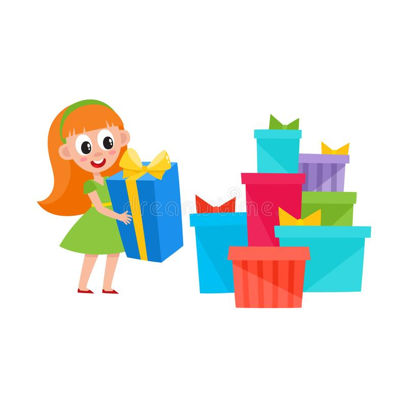 Girl holding present box and pile of many gifts. Cute pretty little girl holding a present box and heap, pile of many Christmas, New Year, birthday gifts vector illustration