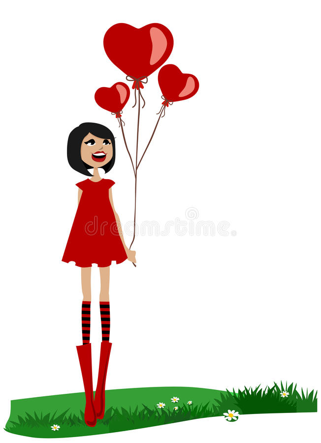 Girl Holding Red Balloon Stock Photography