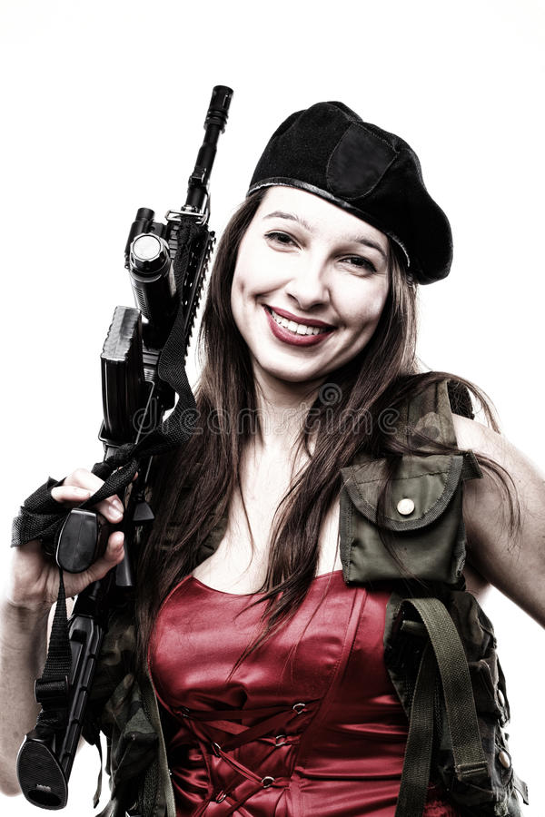 Download Girl Holding Rifle Islated On White Background Stock Photo - Image of background, defend: 24288120