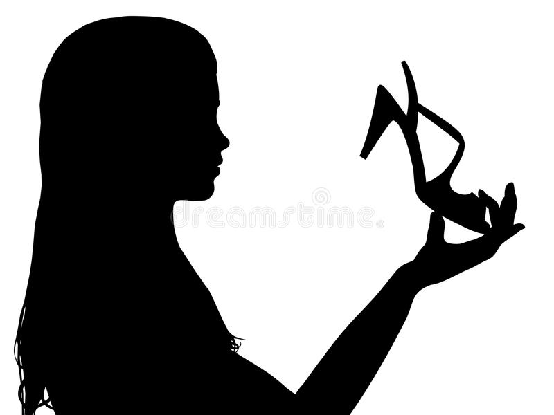 Girl Holding shoe royalty free stock images