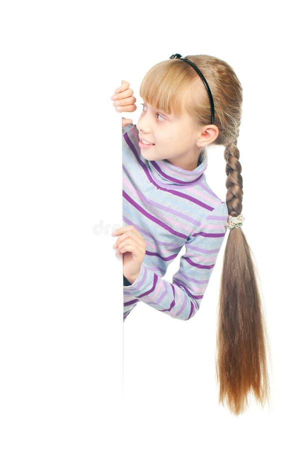 Girl holding sign stock photos