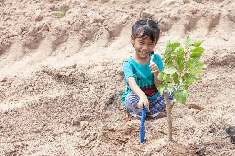 A girl is holding a spade to plant trees to help reduce global warming. stock photos