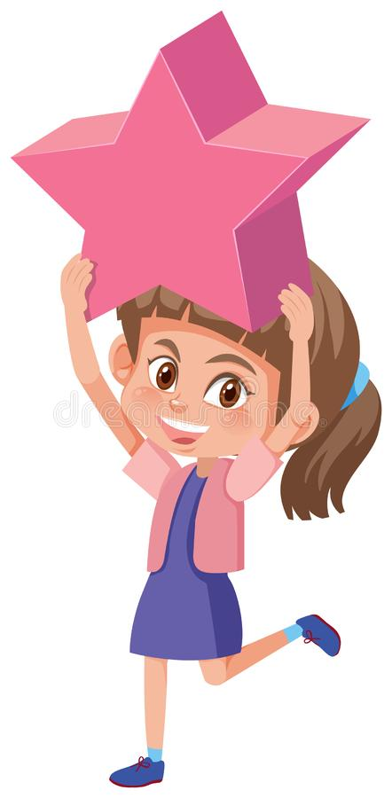 A girl holding a star royalty free illustration