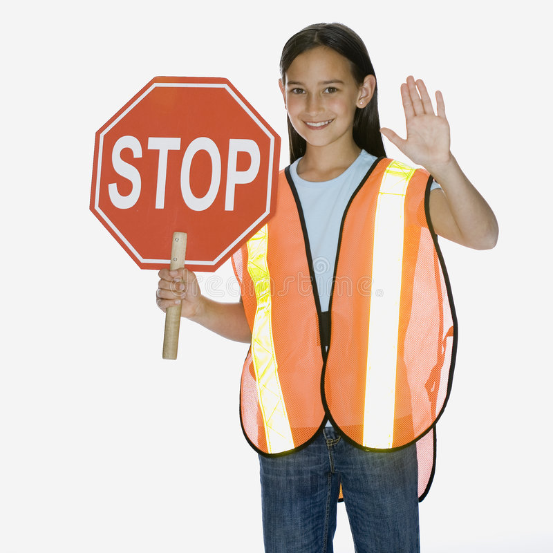 Download Girl holding stop sign stock image. Image of people, holding - 3523457