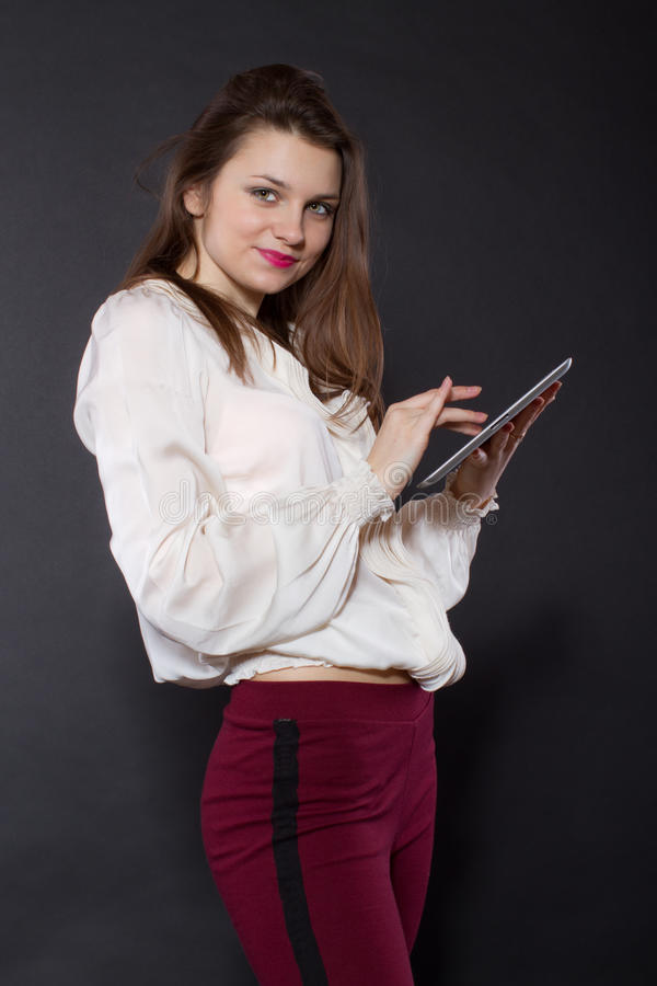 Download Girl Holding A Tablet Computer Stock Image - Image: 28827821