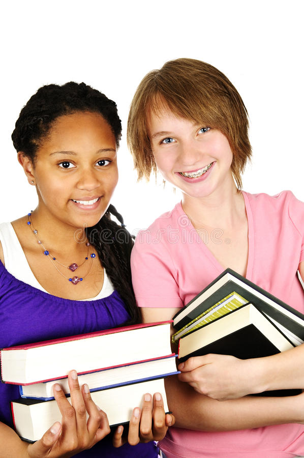 Girl holding text books royalty free stock photos