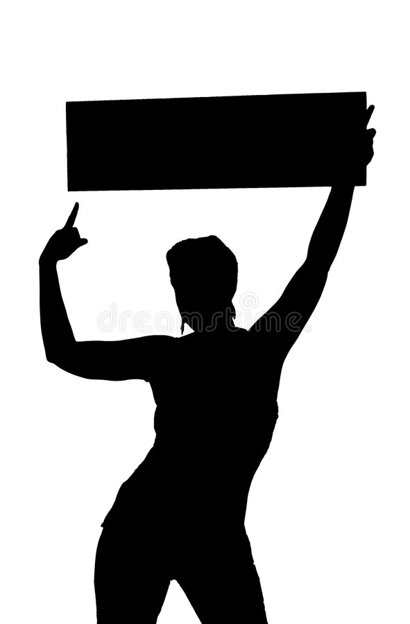Girl holding thin sign royalty free illustration