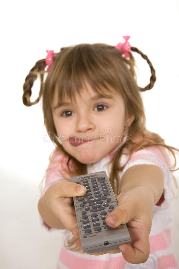 Girl Holding Tv Remote Control Stock Photography
