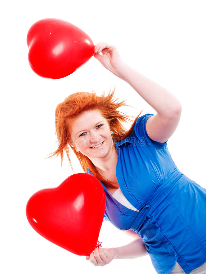 Girl Holding Two Valentine Balloon Hearts Stock Images