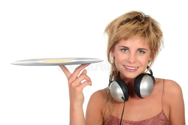 Download Girl Holding A Vinyl Record Stock Image - Image: 944313