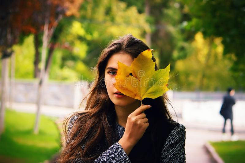 Girl holding yellow leaf, looking through hole autumn background stock photos