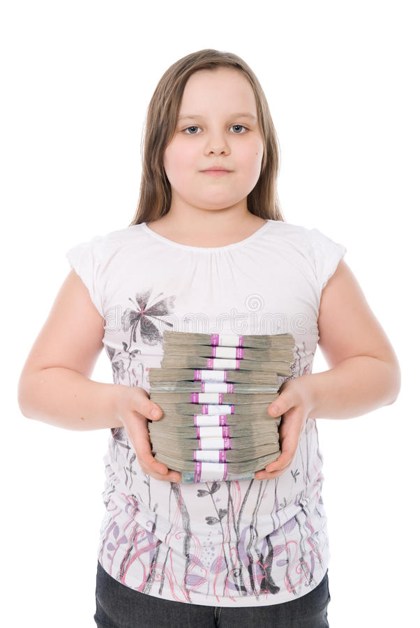 The Girl Holds A Batch Of Money Stock Photos