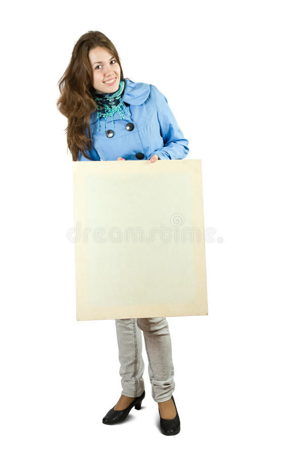 Download Girl holds blank canvas. stock photo. Image of clothing - 16088076