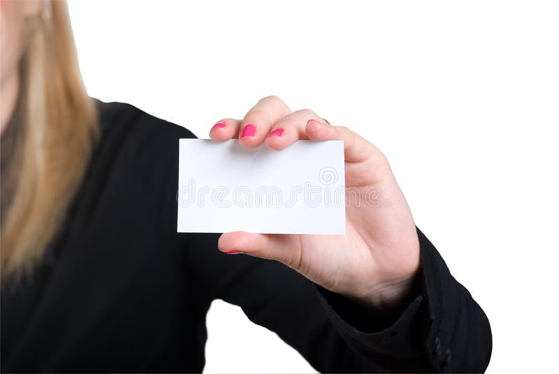The girl holds a card in hands stock images