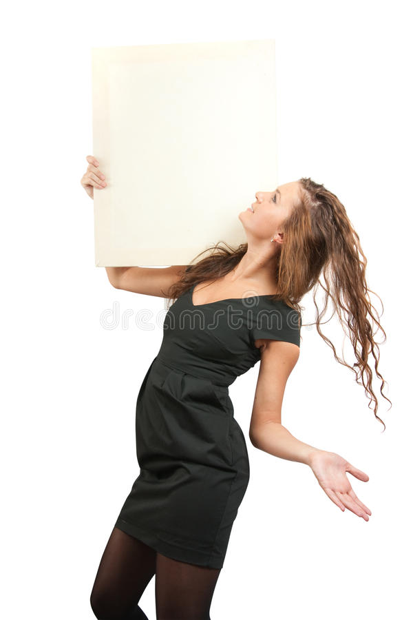 Download Girl In Holds An Empty Poster Stock Photo - Image of attractive, brown: 13196376