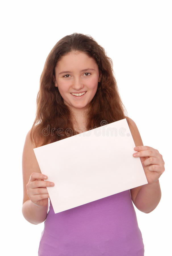 Girl holds a empty white paper royalty free stock photos