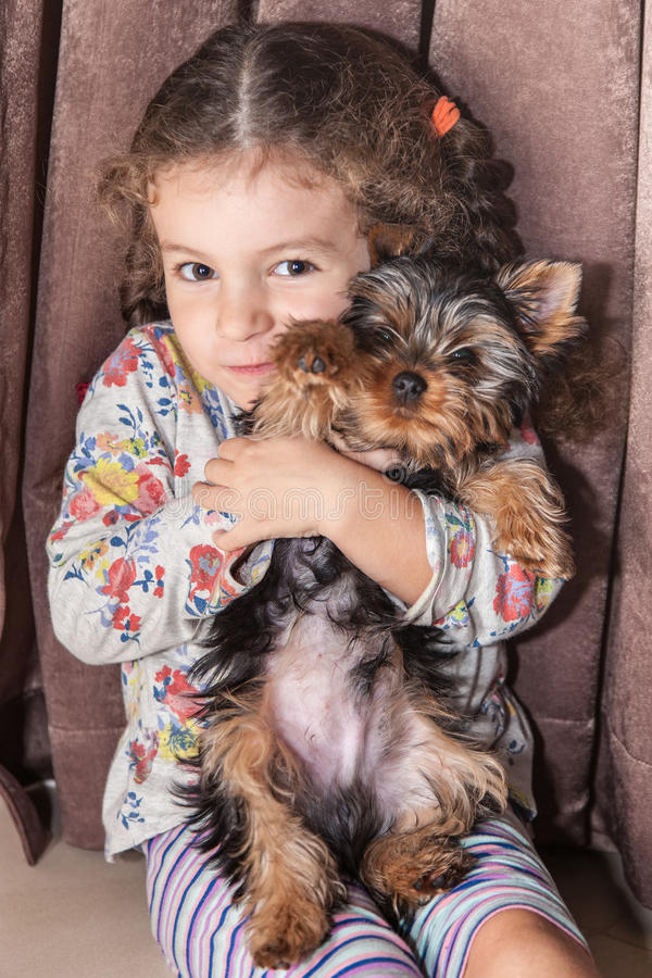 Free Girl Holds Puppy In Hands Royalty Free Stock Images - 82587909