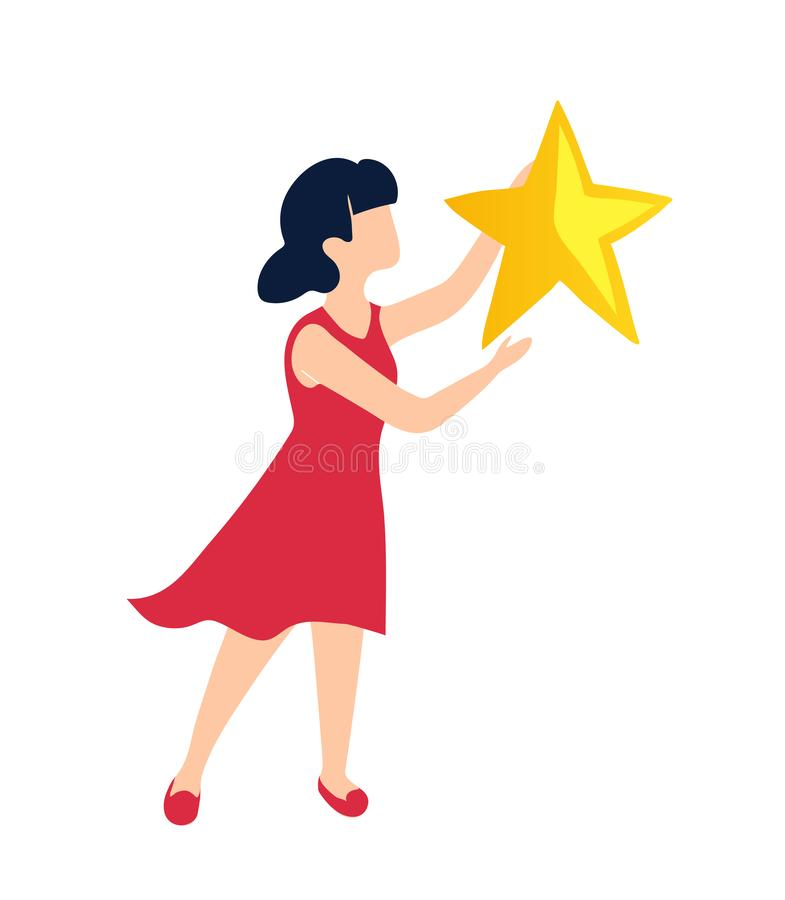 A girl holds a star as a symbol of her victory. The winner received a reward for achieving the goal. royalty free illustration
