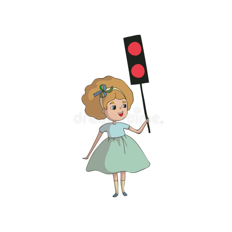 Girl holds a traffic light model with two red lights. Vector illustration on white background. stock illustration