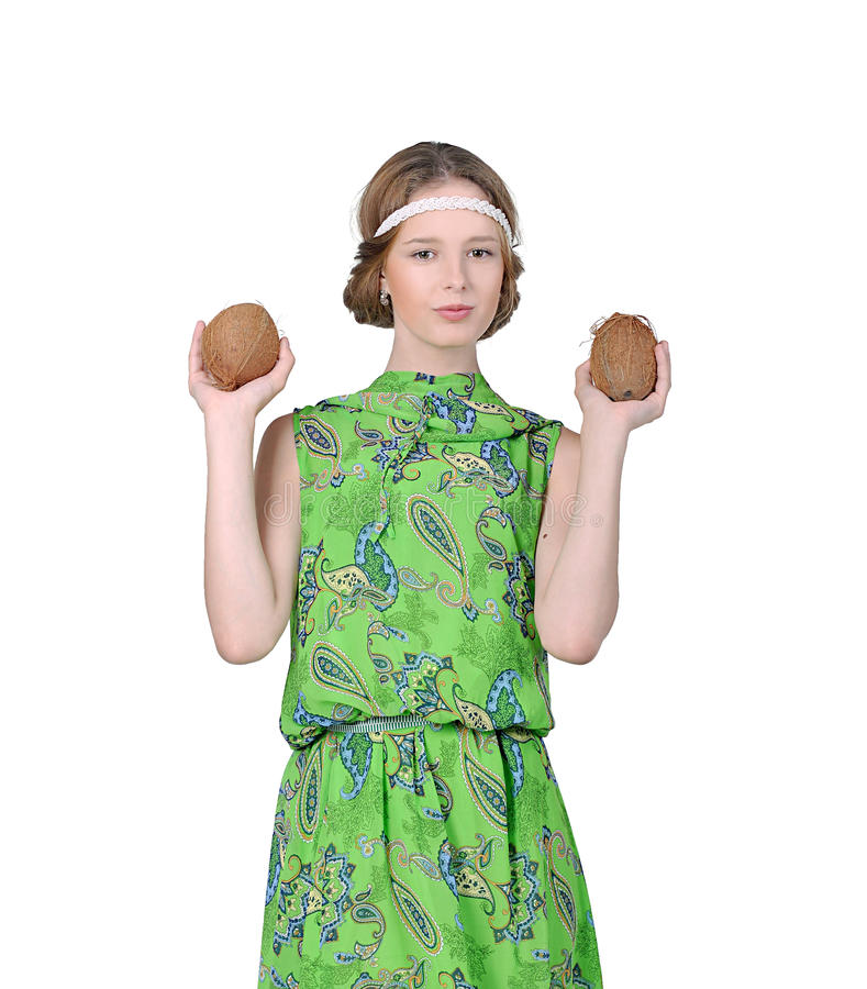 Girl Holds Two Coconut Royalty Free Stock Photo
