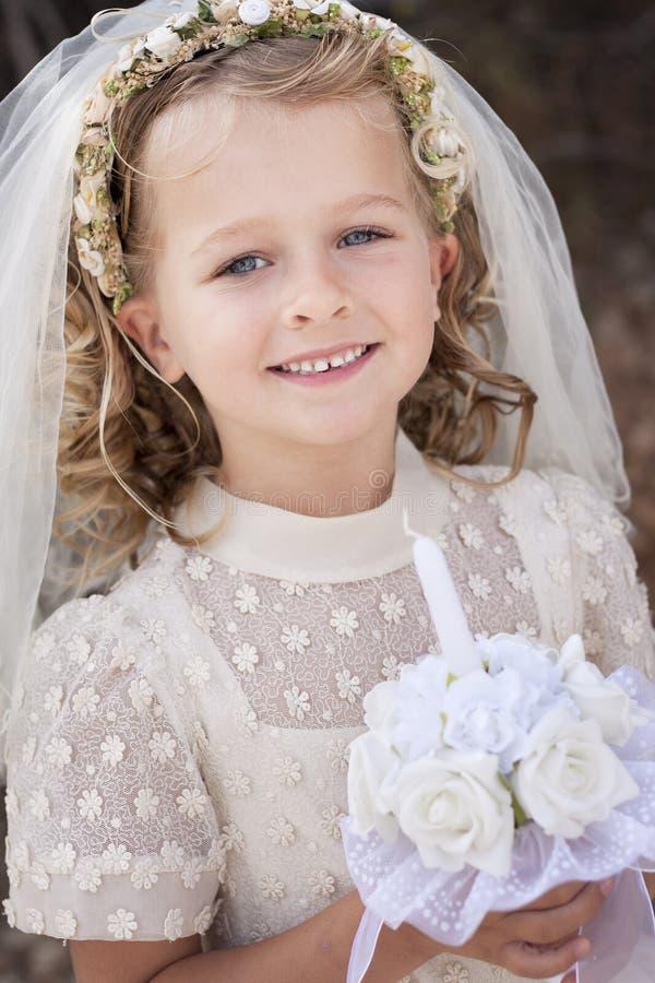 Girl Holy communion stock images