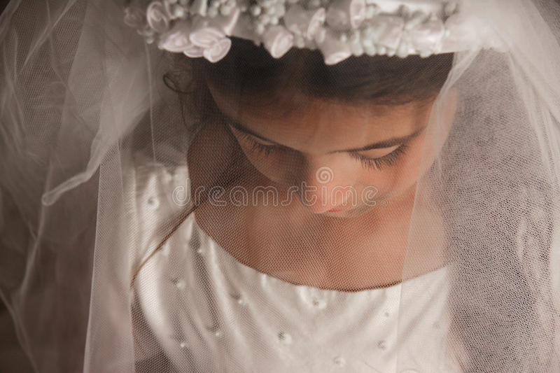 Girl in Holy Communion Dress with a veil stock photos