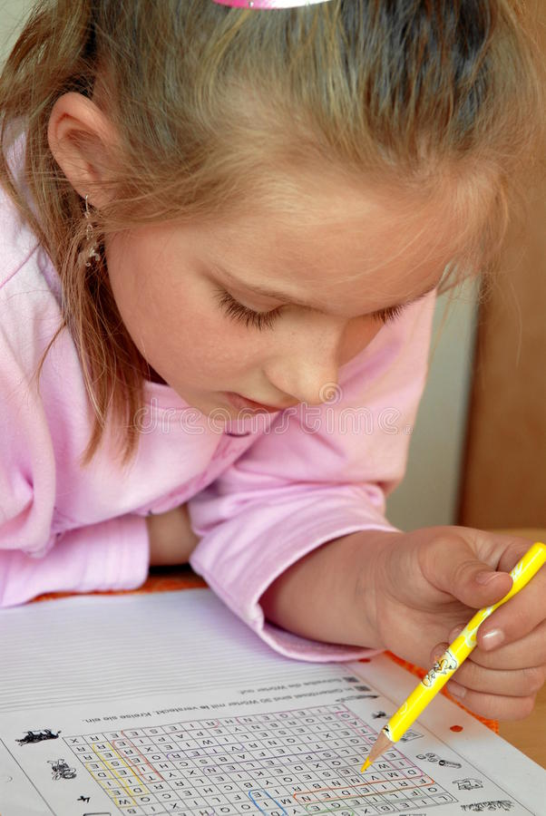 Download Girl with homework stock photo. Image of word, kiddie - 14130840