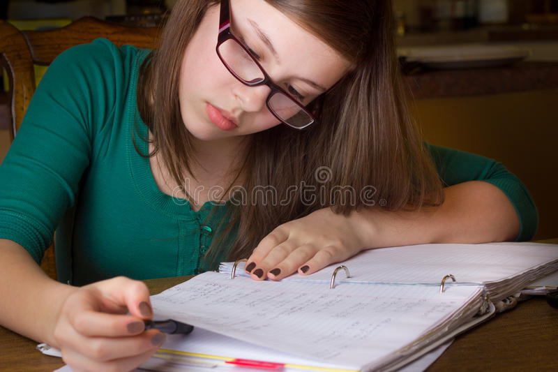 Girl with Homework royalty free stock images