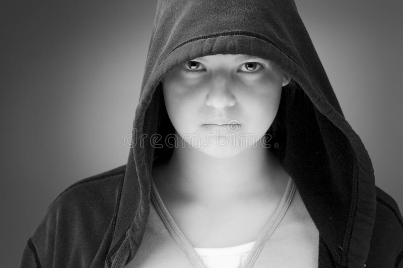 Download Girl in a hooded jacket stock image. Image of blue, teen - 25317387