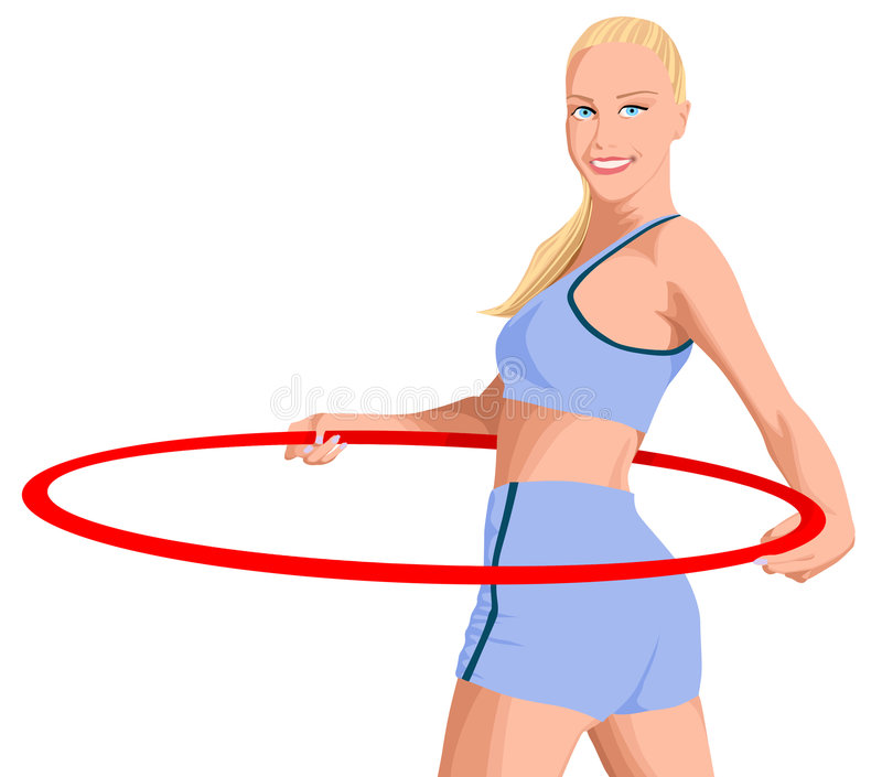 Girl with a hoop. Sports blonde with a hoop