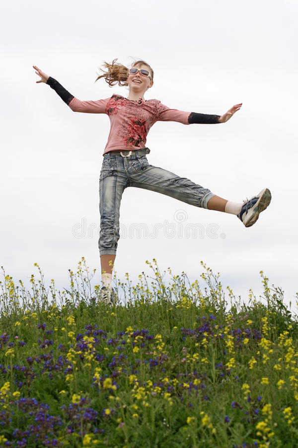Free Girl Hopping Outdoors Stock Photography - 22745322