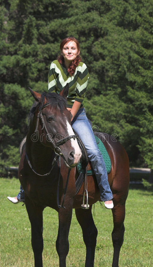 Download Girl on  horse stock image. Image of good, expression - 1060681