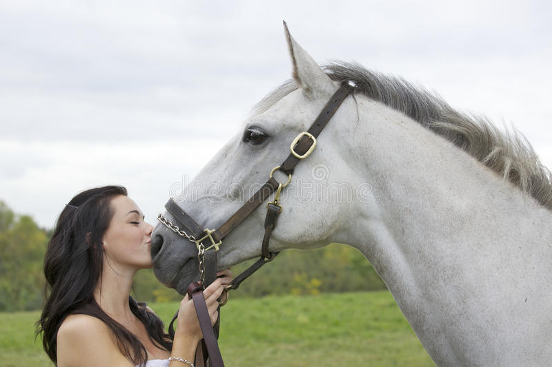 Download Girl and horse stock image. Image of kiss, beautiful - 16242689