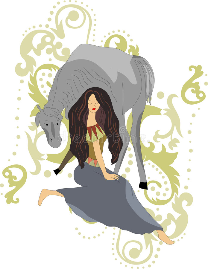 Download Girl with horse stock vector. Image of freedom, person - 2282256